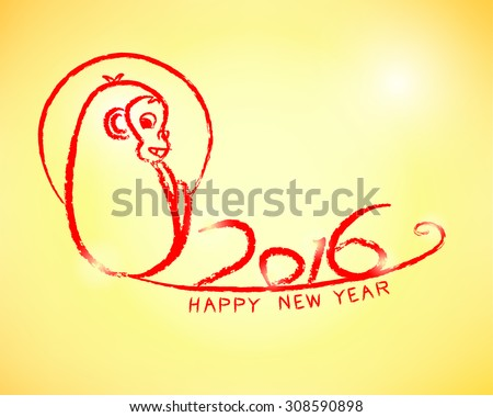 Happy New Year 2016 (Year of Monkey) in chinese style Vector eps10 - stock vector