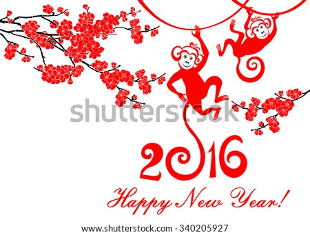 Happy new year 2016. Year Of The Monkey. Celebration background with Red Plum flowers, monkey and place for your text. Vector Illustration
