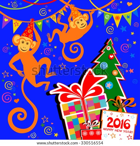 Happy new year 2016. Year Of The Monkey. Celebration blue background with monkey, Christmas tree, gift boxes and place for your text. vector illustration - stock vector