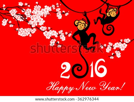 Happy new year 2016. Year Of The Monkey. Celebration red background with  flowers, monkey and place for your text. Vector Illustration - stock vector