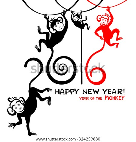 Happy new year 2016. Year Of The red Monkey. Vector Illustration - stock vector