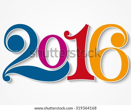 Happy new year 2016. Year 2016 vector design element. - stock vector