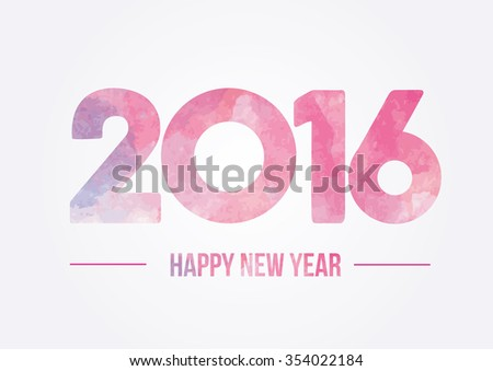 Happy new year 2016. Year 2015 vector design element. Watercolor illustration.