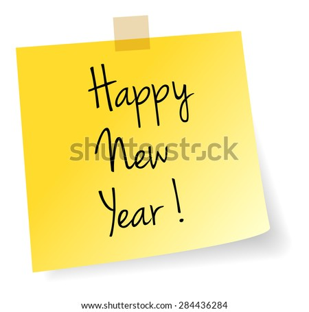 Happy New Year Yellow Stick Note Paper Vector Isolated