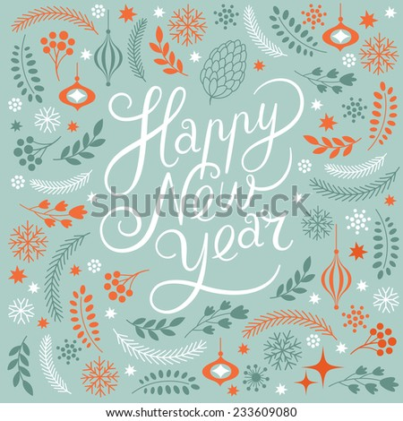 Happy New Years lettering  - stock vector