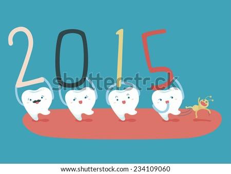 Happy new years of teeth - stock vector