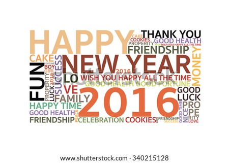 Happy New Years 2016 on the white background (Vector File)