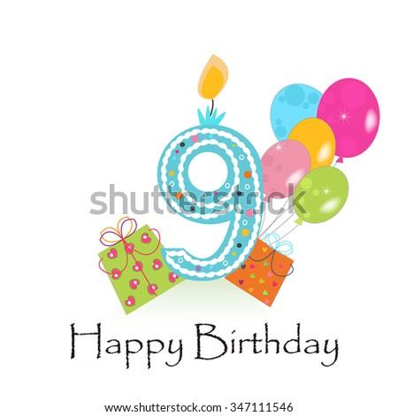 Happy ninth birthday card gift box stock vector 347111546 shutterstock happy ninth birthday card with gift box and balloons bookmarktalkfo Images