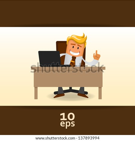 Happy office manager. Vector illustration - stock vector