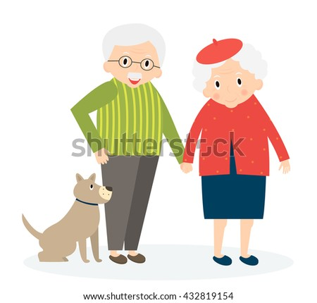 Happy old couple together. Seniors couple with dog on walk. Vector Illustration - stock vector