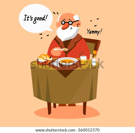 Happy old man eating his healthy dinner. Portrait of senior expressing positivity and satisfaction.  - stock vector