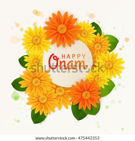 Happy onam flower greetings south indian stock vector 475442353 happy onam flower greetings for south indian festival onam vector illustration m4hsunfo