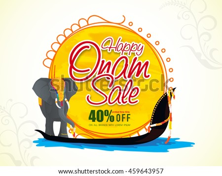 Happy Onam Sale with 40% Off, Creative Poster, Banner or Flyer design with illustration of an elephant on snake boat for South Indian Festival celebration.