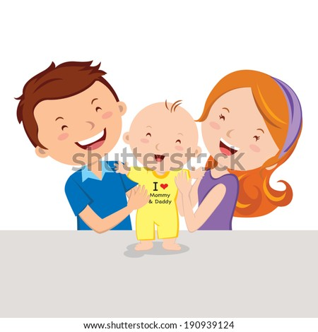 Happy parent and baby. Vector illustration of a father and mother with their infant baby standing up. - stock vector