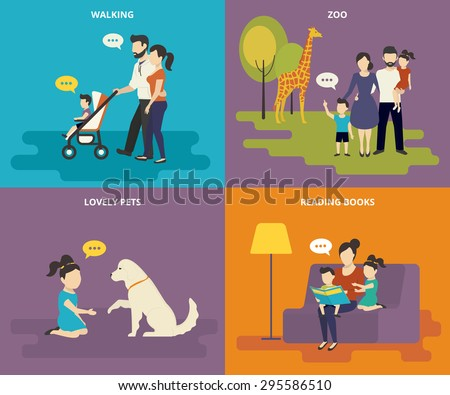 Happy parents are playing with children. Family with concept flat icons set of reading books, playing with pet, visiting zoo and walking - stock vector