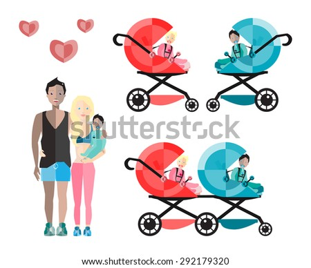 Happy Parents with Baby Boy. Vector Flat Illustration. - stock vector