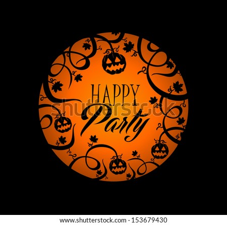 Happy Party Halloween text over orange full moon with pumpkin lantern and spooky forest background. EPS10 vector file organized in layers for easy editing. - stock vector
