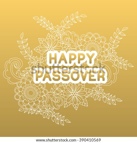 Happy passover greeting card hand drawn stock vector 390410569 happy passover greeting card hand drawn flowers on golden background happy passover in m4hsunfo