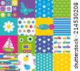 happy patchwork pattern collection  - stock vector