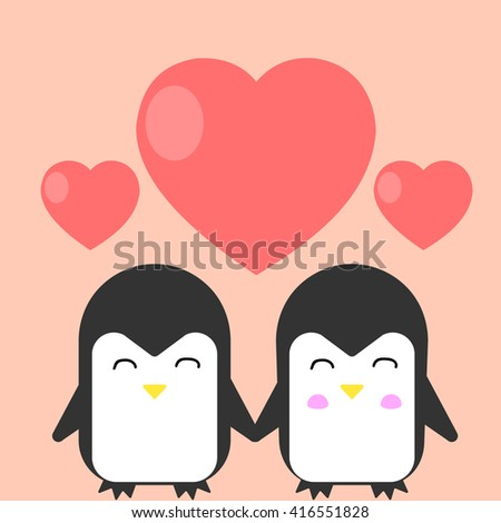 Happy penguin love each other. Concept for Valentines day, wedding or other. Vector flat illustration on pink background. - stock vector