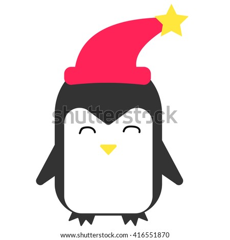 Happy penguin smiling and wears a hat. Vector flat illustration. - stock vector
