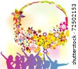 Happy people and floral background - stock vector