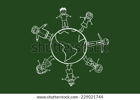 Happy People Around The World Drawing On Green Chalkboard - stock vector