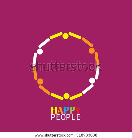 happy people group in circle as team vector icon - stock vector