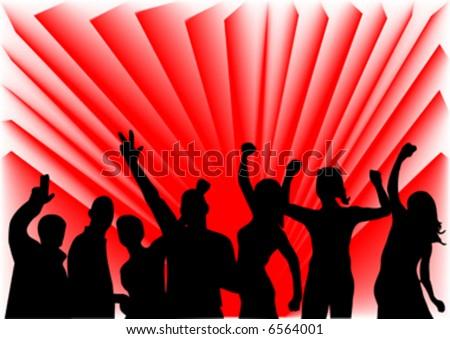 happy people in disco - stock vector