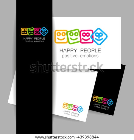 Happy people logo template. Concept identity presentation design for company. Positive emotions, entertainment sphere, unity emblem, happy people team, society fund and etc. Vector illustration.   - stock vector