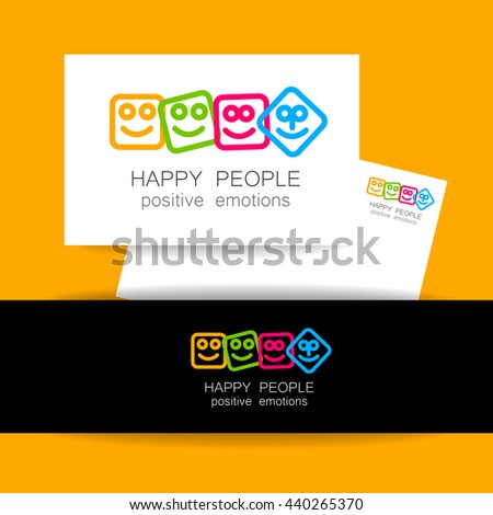 Happy people logo template. Concept identity presentation design for company. Positive emotions, happy games, entertainment sphere, unity emblem,  society fund and etc. Vector.   - stock vector