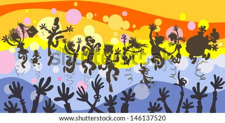 Happy people party. All in separated layers. - stock vector