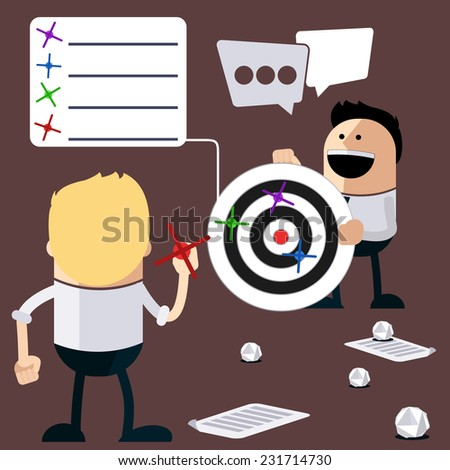 Happy people play darts and calculation of the results. Business results of ideas as they hit target cartoon flat design style - stock vector