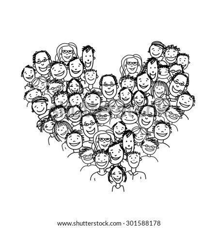 Happy peoples, heart shape for your design. Vector illustration - stock vector