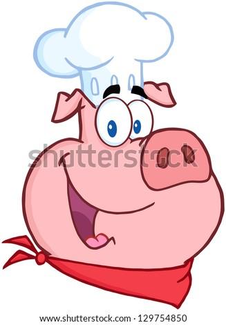Happy Pig Chef Head - stock vector