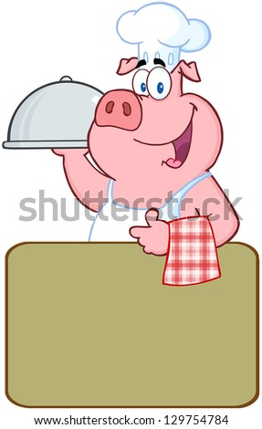 Happy Pig Chef Holding A Platter Over A Blank Sign - stock vector