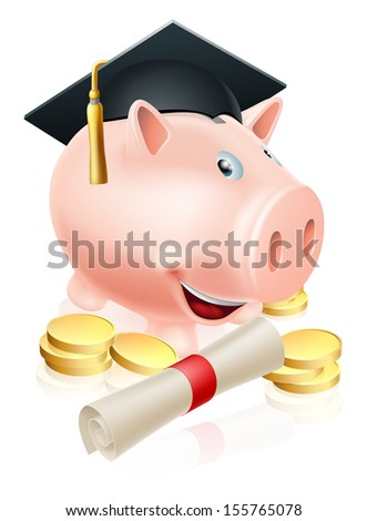 Happy piggy bank cartoon with graduation cap and diploma scroll with gold coins. Saving for a career or education. - stock vector