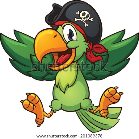 Happy pirate parrot. Vector clip art illustration with simple gradients. All in a single layer. - stock vector