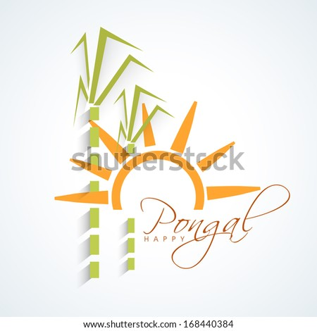 Happy Pongal, harvest festival celebration in South India with sugarcane and stylish text on blue background.
