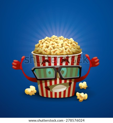 Happy Popcorn Bucket, vector - stock vector
