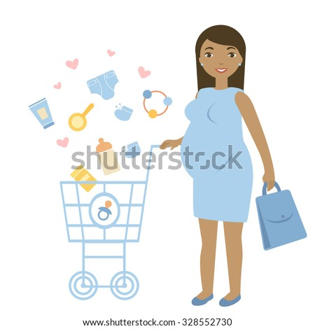 Happy pregnant woman with a cart and children's accessories. Pregnant woman buying baby things for boy. - stock vector