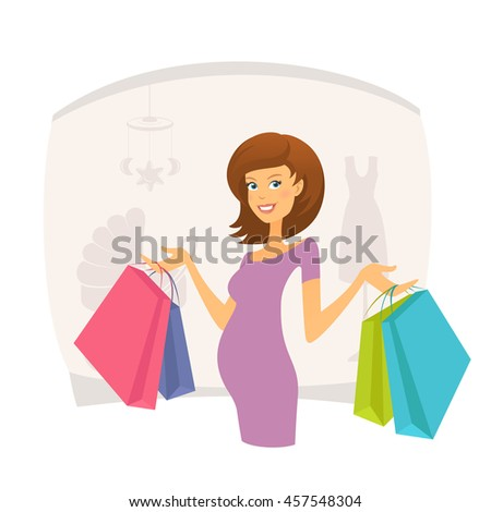 Happy pregnant woman with shopping bags - stock vector