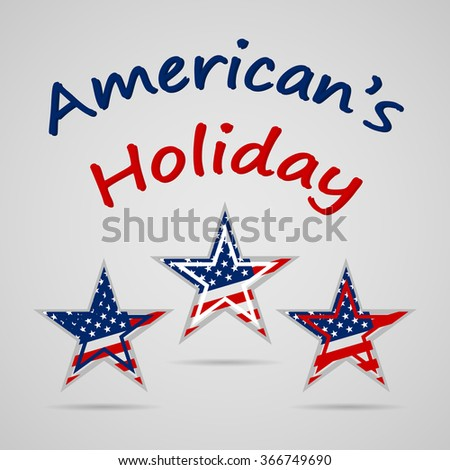 Happy Presidents Day celebration with United State of American flag  on stars - stock vector