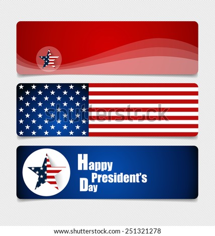 Happy Presidents Day. Presidents day banner illustration design with american flag. - stock vector