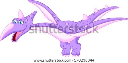 happy pterodactyl cartoon - stock vector