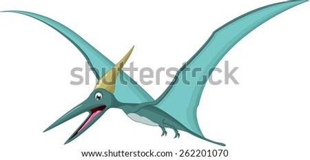 Happy pterodactyl cartoon  - stock vector