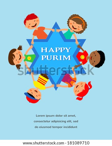 happy purim. different colors children around david star - stock vector