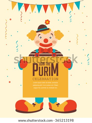 happy Purim, Jewish holiday. clown  holding greeting poster - stock vector