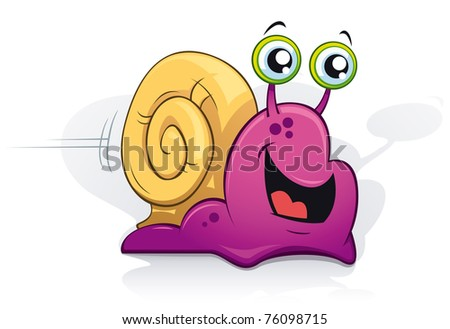 Happy purple snail on white background - vector - stock vector