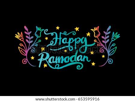 Happy ramadan muslim holiday greetings handwritten stock vector happy ramadan muslim holiday greetings handwritten lettering m4hsunfo